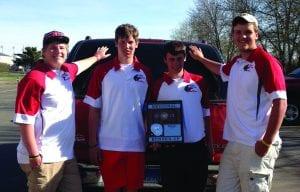 Regional runners-up... The Potter County Battler boys were the runners-up at the Region 5B golf tourney in Mobridge on Monday. Pictured from left are Jake Langer (John and Jill), Caleb Meinke (Shelli and Danny), Kole Hawkinson (Julie and Dave Kilian/Ken Hawkinson), and David VanderVorst (Barb and Allen). The team will compete in the State tournament in Brookings on Monday and Tuesday and Langer, Hawkinson, and VanderVorst will also compete individually at the state meet. They are coached by Gayle Kludt and Gary Oaks.