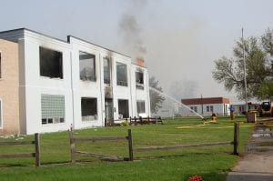 The Hoven High School building was destroyed by fire early Sunday morning, May 25. Fire fighters were called to the scene around 1 a.m., with neighboring departments called for mutual aid throughout the night. At 9:30 that morning, hot spots were still flaring as crews doused what was left of the school house.